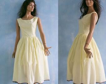 29498d021ae Vintage 1950 pale yellow prom knee length dress  sleeveless flare skirt  silky summer garden party dress  graduate dress S