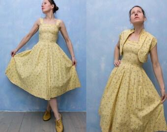 3c16317b8ebf Woman 1950 s Vintage light yellow black abstract print day dress  full midi  skirt swing dress and Matching Bolero Jacket XS S