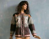 Vtg woman brown Nordic knitted cardigan sweater grey white yellow deer pattern Norwegian wool acrylic blend jacket metal clasps S