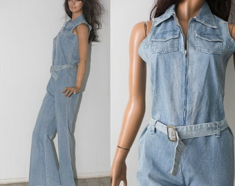 feee2552a77 Vintage 90s Womens blue denim cotton JUMPSUIT romper   Flared Denim Retro  Bell Bottom Overalls
