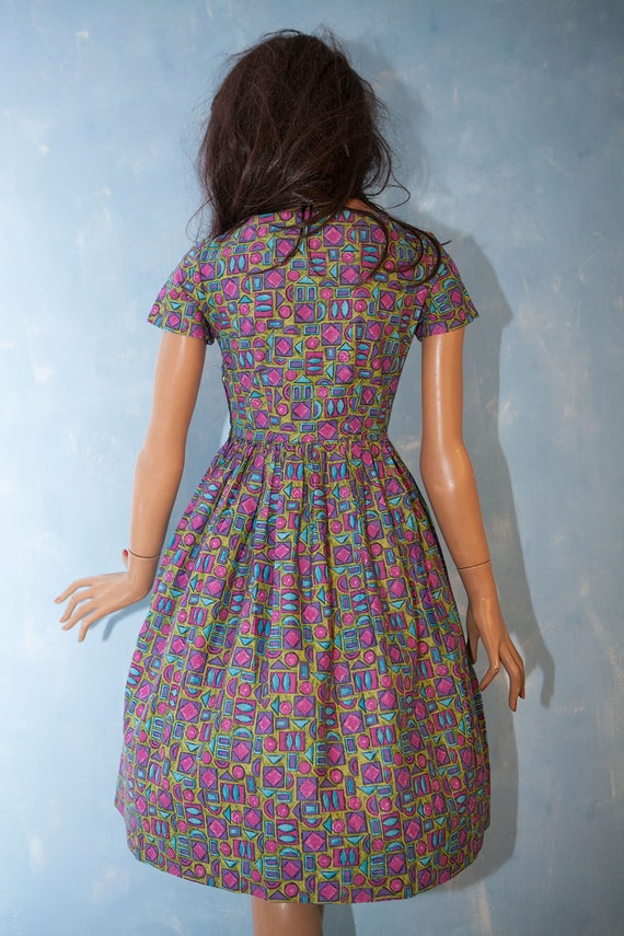 knee Vintage dress dress party garden blue short purple sleeve cotton S length pocket cotton 1950 patch pink fwZqIxrf