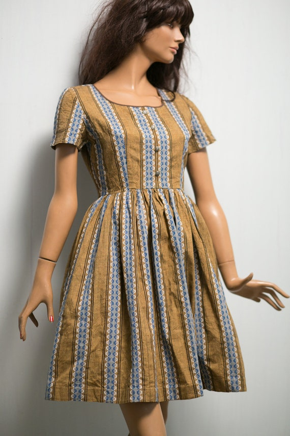 dress pleated dress 1950s brown cotton print folk Vintage day dress mini blue shirtwaist S light RHqfgWvwx