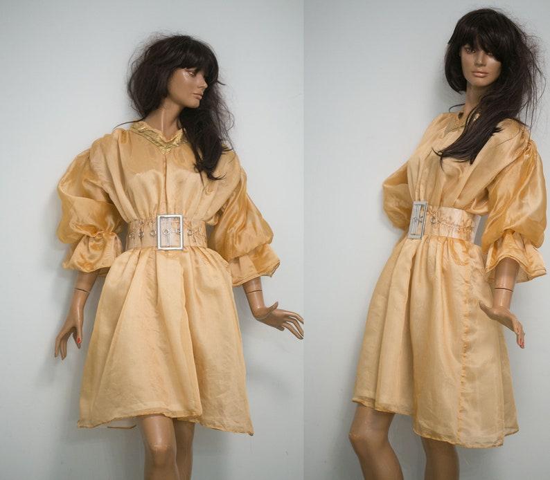 954da8b62ea 90s vintage Bollywood style dress peach creme golden trim