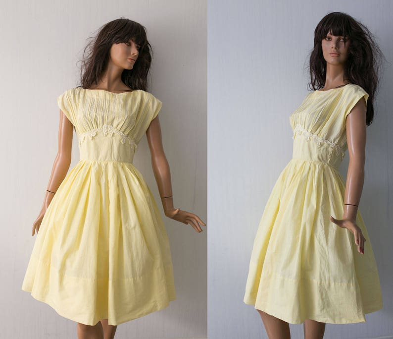 f7d5613b31fc R&K Original Vintage 1950 pale yellow day dress/ cotton | Etsy