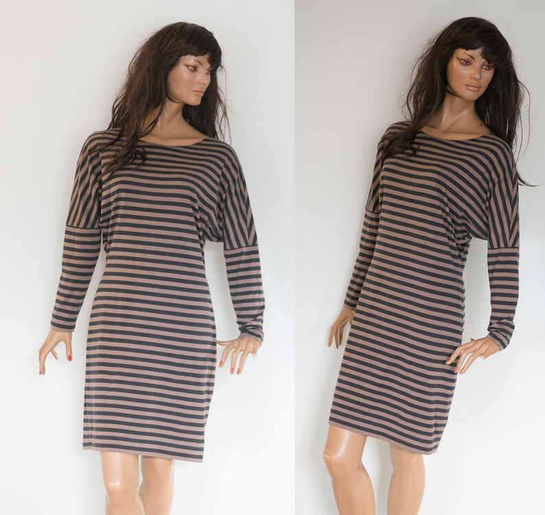 b895703a9b7e MARIMEKKO Finland Shirt dress black stripes brown color