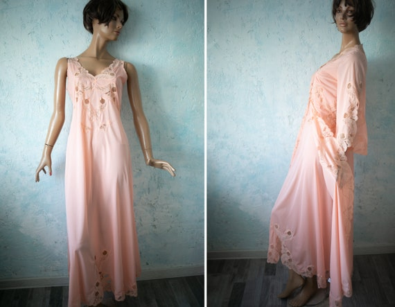 80s vintage  salmon pink  long bell sleeve house r