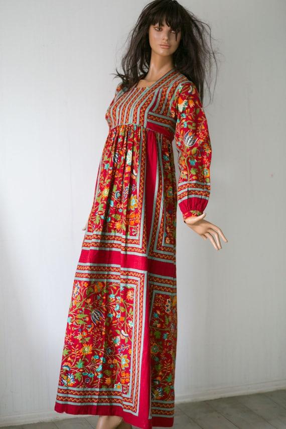 red tie Hippie blue folk red Bohemian flanel S maxi waist cotton belt VTG empire 70s Dress print dress x6AXAqU
