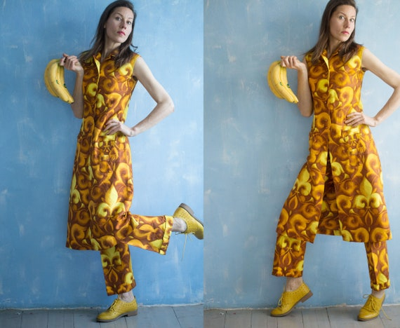 60s and yellow suit S Pants sleeveless flower and Vest long brown small Set pant Deadstock woman Vintage vest RB5wqU5