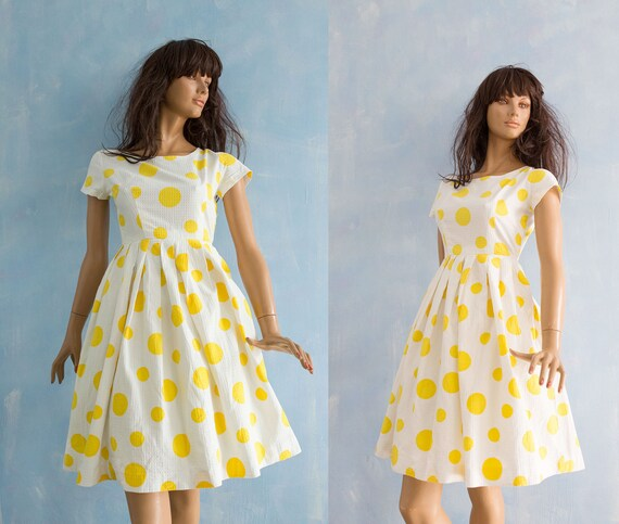 party dot 1950 dress yellow Vintage S pleated dress print short length sleeve garden XS white big cotton knee wAxxfqtHU