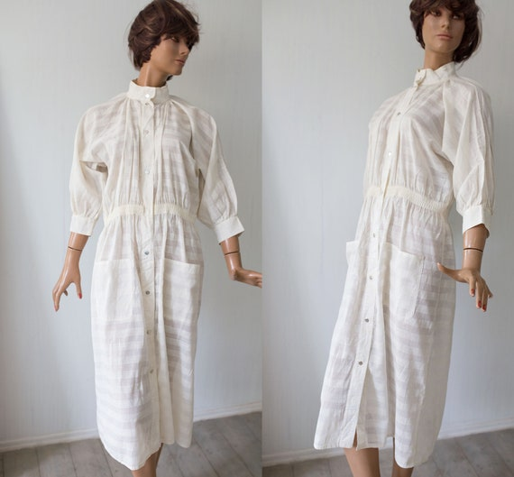 sheer Dress creme Vintage Stripes Shirt Coat Print Vuokko 70s dress white Designer Finland Horiziontal Cotton 80s S A Line P56nwxqa