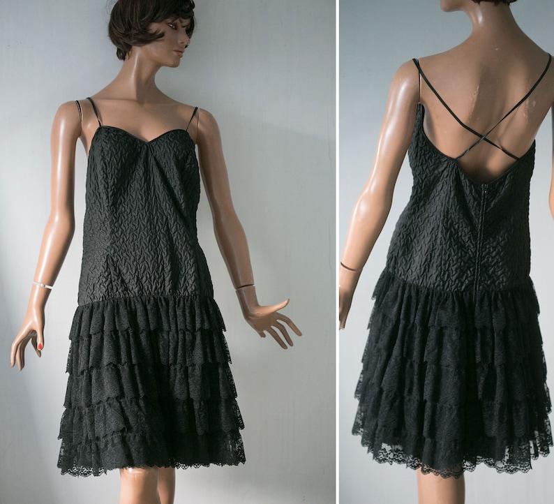c15a67d5abcb Vera Mont brand 90s Black coctail dress  lace ruffle skirt