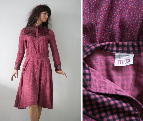70s  Vintage  wine red dress/ country prairie    c