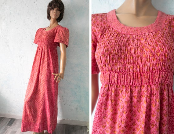 VTG 70s Bohemian  coral red  Dress / Indian Cotton