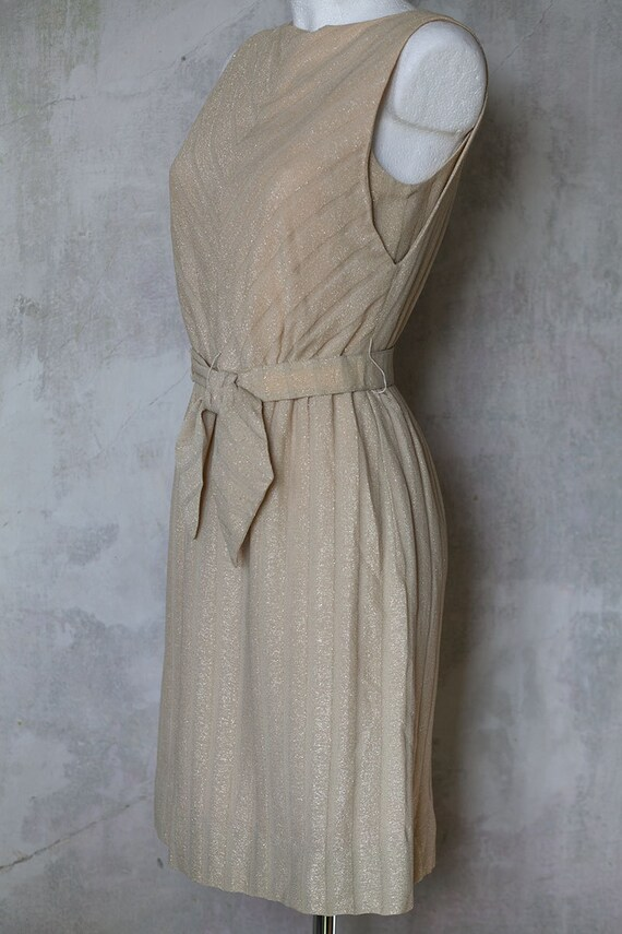 60s dress style wiggle tan creme dress coctail originals R Twiggy little S amp;K Vintage golden dress mini threads fdZOfq