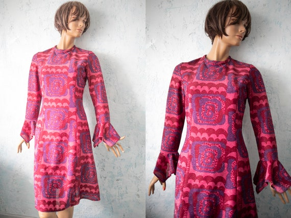 70s wine red purple pink psychedelic vibrant dress