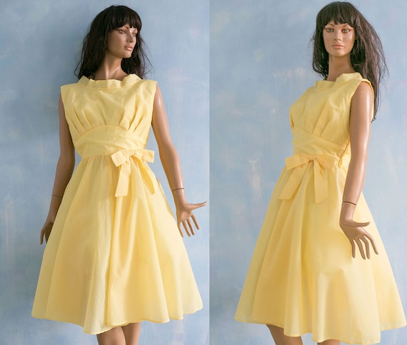 dress length skirt M 1950 sheer graduate circle decorative bow knee prom coctail yellow dress full Vintage sleeveless SwRZq