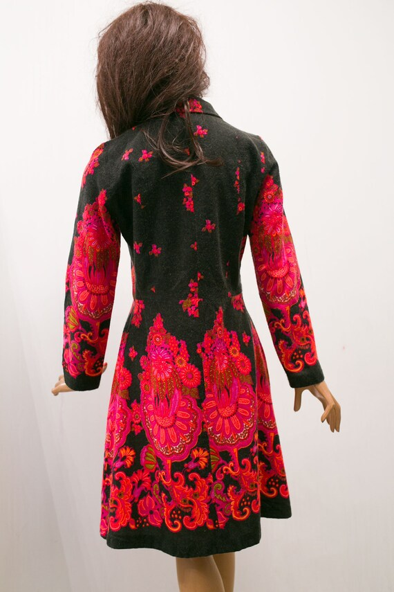 woman floral print M design dress Sweden folk dress vintage black red Martinetti autumn 70s I8qFO