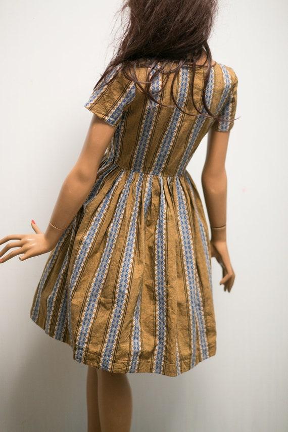 dress pleated dress 1950s brown cotton print folk Vintage day dress mini blue shirtwaist S light RHqfgWvwx