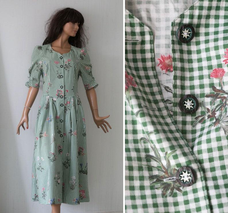 Vintage 80s German Octoberfest  white green  plaid flower butterfly print  Bavarian  Salzburger  dress short puff sleeves cotton dress SM