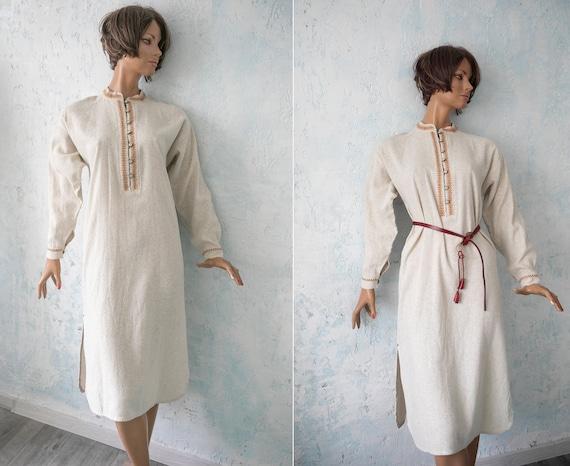 woman vintage  folk dress/ beige linen hand made e