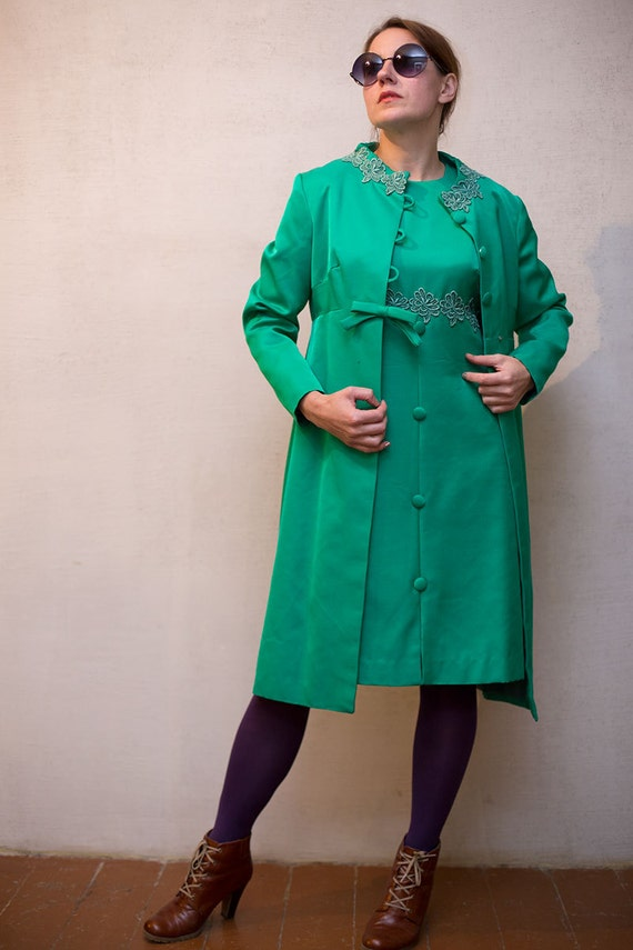 Clevaline two vintage wiggle green London 60s M wool dress outfit piece elegant set by woman acetate L coat 81qxxn6w