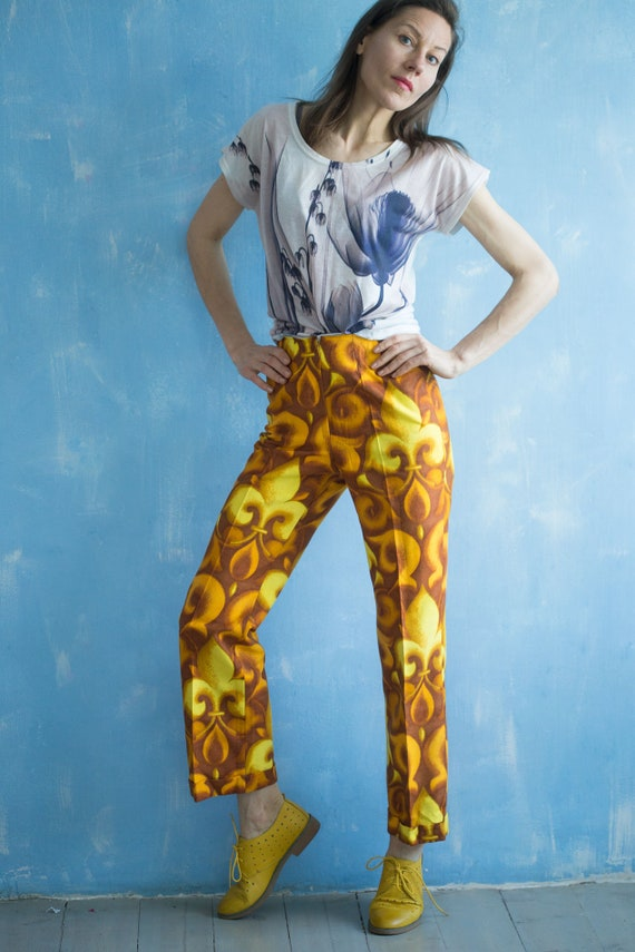 S 60s sleeveless Vest Set pant and suit yellow long Vintage and vest Pants small Deadstock flower brown woman gq5RPwa