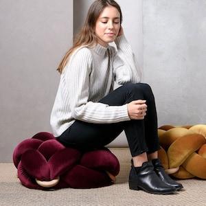 Knot Floor Pillow pouf pouf ottoman, Medium knot Floor Cushions in blush pink cushion Pouf Ottomans Modern pouf