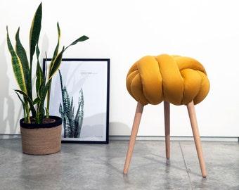 Mustard Knot stool, design chair,stool, modern chair, industrial stool, wood stool,