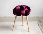 Deep purple Velvet Knot stool, design chair, modern chair, industrial stool, wood stool,