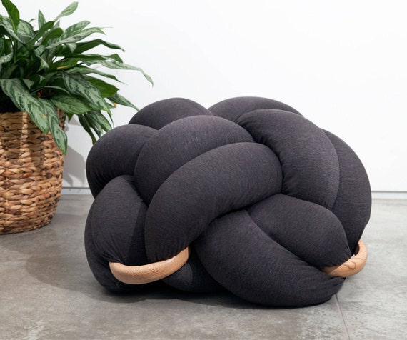 Large Knot Floor Cushion in dark grey Knot Floor Pillow pouf