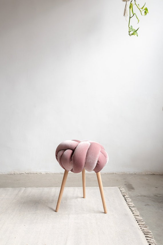 Fantastic Blush Pink Velvet Knot Stool Design Chair Modern Chair Industrial Stool Wood Stool Cjindustries Chair Design For Home Cjindustriesco