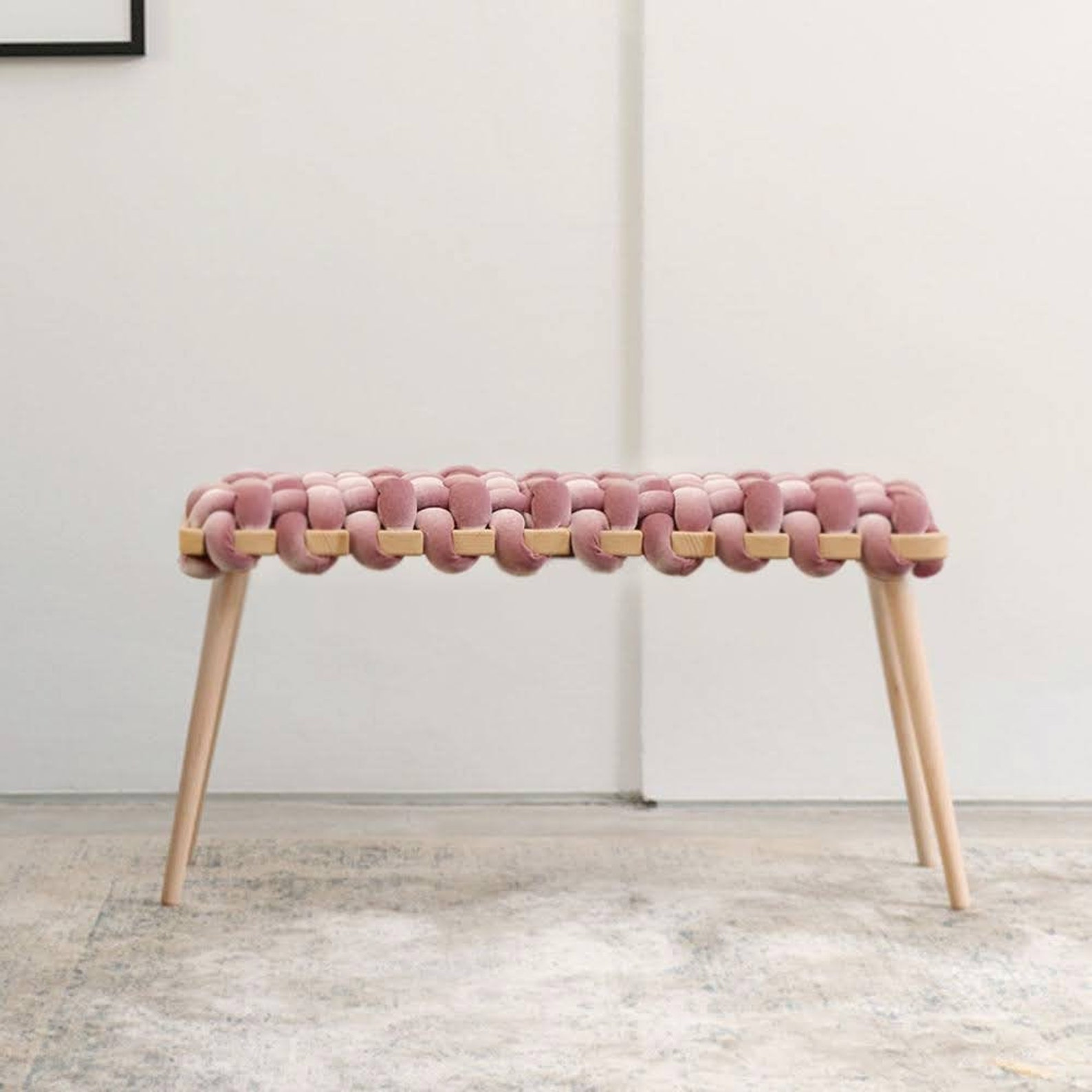 beechwood and velvet handwoven bench