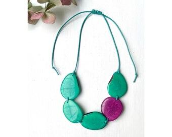 Rainbow Tagua Bead Necklace Bold Eco-friendly Jewellery Sustainable Jewellery Eco Fashion