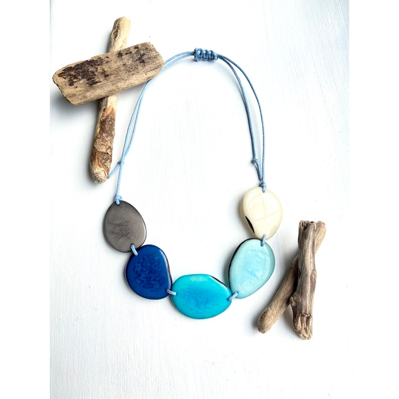 Bold Eco-friendly Jewellery Eco Fashion Sustainable Jewellery Light Blues Tagua Bead Necklace
