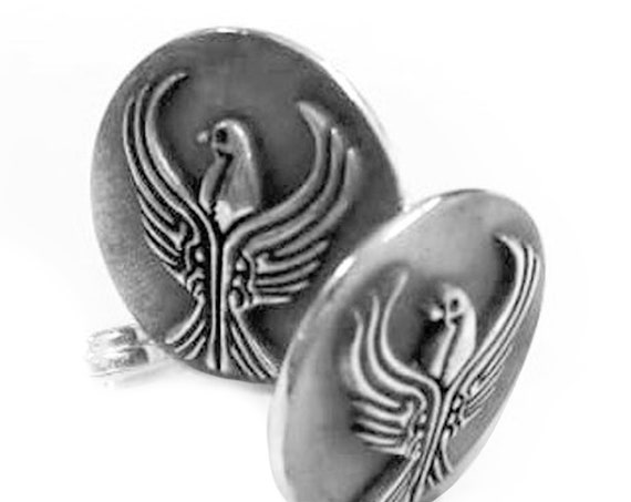 Sterling silver round Pontic Eagle cuffs, masculine Greek of Pontos Eagle emblem silver cuffs
