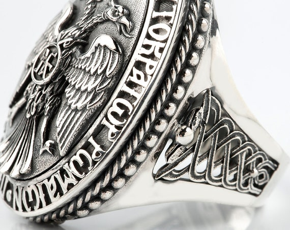Double Headed Imperial Eagle Ring, Byzantine Ring, Paleologos Emblem Ring, Emperor ring, Orthodox Ring