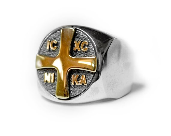 Orthodox Cross ΙϹΧϹ (Jesus Christ) NIKA (Conquers) Emblem Ring, Christogram ring, Orthodox Ring