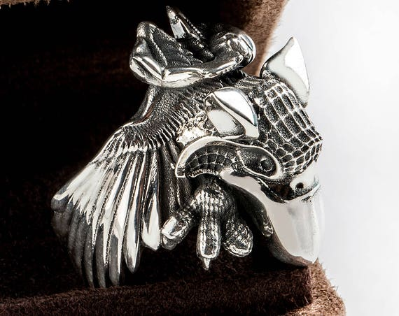Sterling silver Griffon ring, Gryphon Ring Jewelry - solid sterling silver Griffin ring