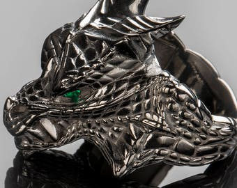 """House Targaryen Dragon Ring, """"Game of Thrones """" inspired """"Houses of Westeros"""", Black Silver Dragon GemstoneFire and Blood Ring"""