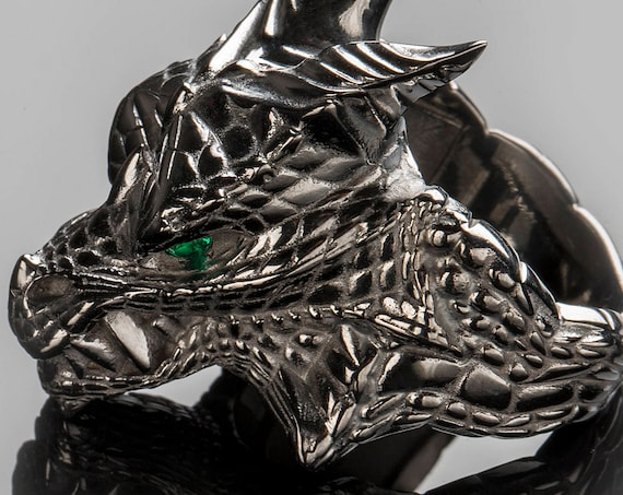 "House Targaryen Dragon Ring, ""Game of Thrones "" inspired ""Houses of Westeros"", Black Silver Dragon GemstoneFire and Blood Ring"