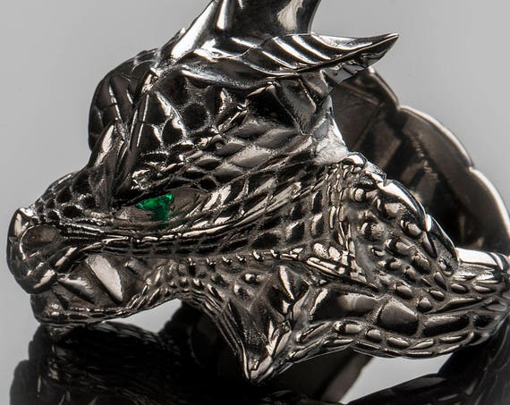 "Dragon Ring inspired by ""Houses of Westeros"", Black Silver Dragon Gemstone Ring"