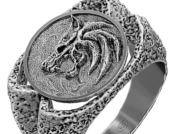 Witcher Geralt of Rivia ring, The Witcher Wolf Ring, sterling silver witcher medieval warrior fantasy ring