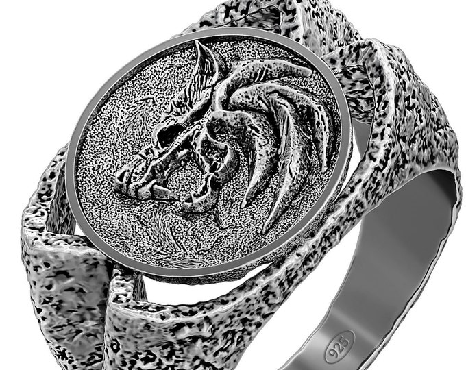 Geralt of Rivia ring Inspired by Witcher jewelry, Wolf Ring, sterling silver medieval warrior fantasy ring
