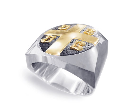 Imperial Cross Byzantine Paleologos Emblem Ring, Emperor ring, Orthodox Ring