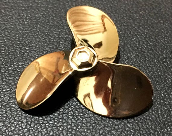 Boat propeller pendant, nautical propeller screw, gold navy propeller maritime charm, industrial marine boat screw propeller pendant
