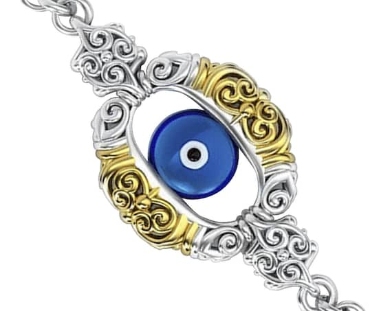 Evil Eye Silver Protection Charm, Amulet blue evil eye jewelry, Good luck Evil eye charm chain bracelet