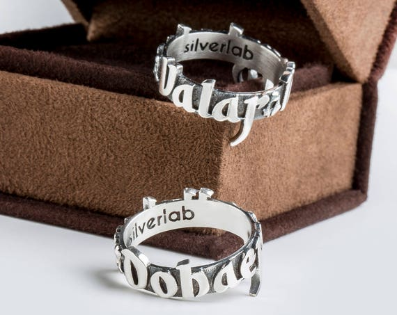 "Valar Morghulis & Dohaeris, Set of Two Valyrian Rings in Silver or Gold, GOT inspired ""Houses of Westeros"" Jewelry"