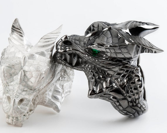Dragon Ring, Dragon Head Ring , Black Silver Dragon Gemstone Ring
