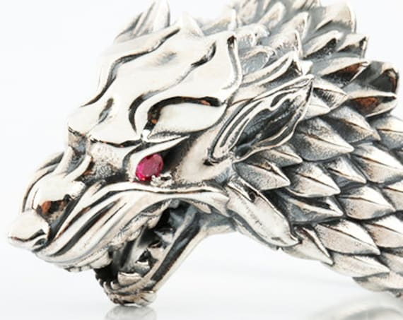 "Wolf Starks Ring ""HOUSES OF WESTEROS"" inspired ring,  Werewolf Animal Ring With Gemstones"