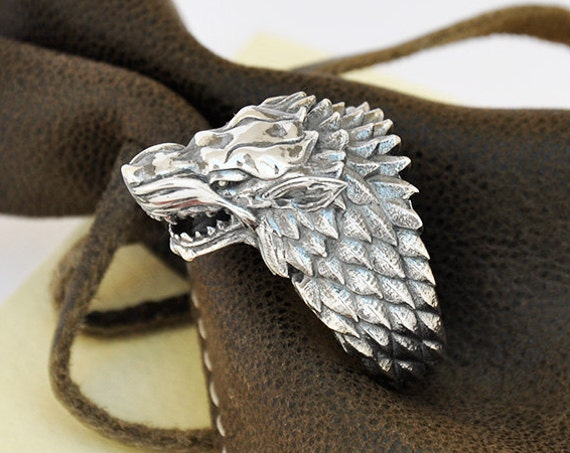 "Direwolf, House of Stark Ring, ""Game of Thrones "" inspired ""Houses of Westeros"" Jewelry ,  Wolf Animal Ring"